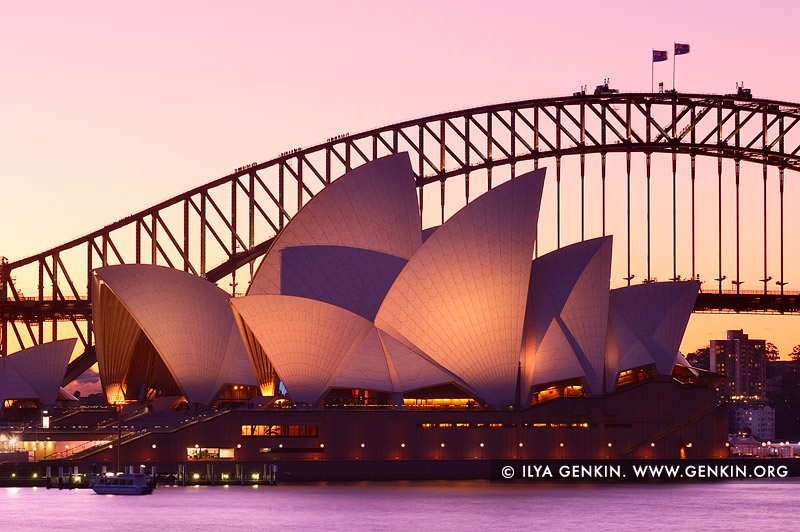 australia stock photography | Sydney Opera House from Mrs Macquarie's Chair after Sunset, Sydney, NSW, Australia, Image ID AU-SYDNEY-OPERA-HOUSE-0024