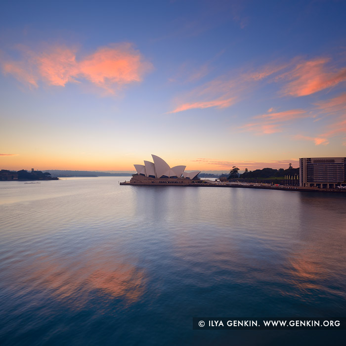 australia stock photography | Clouds above Sydney Opera House at Sunrise, Sydney, NSW, Australia