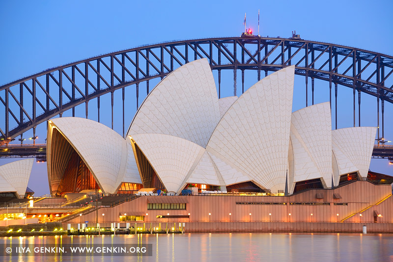 australia stock photography | Sydney Opera House and Harbour Bridge At Dusk, The Royal Botanic Garden, Sydney, NSW, Australia
