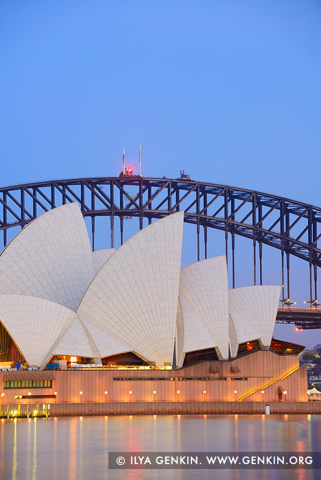 australia stock photography | Sydney Opera House and Harbour Bridge At Twilight, The Royal Botanic Garden, Sydney, NSW, Australia, Image ID AU-SYDNEY-OPERA-HOUSE-0029
