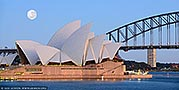 australia stock photography | Super Moon Over Sydney Opera House, Mrs Macquarie's Chair, Sydney, NSW, Australia, Image ID AU-SYDNEY-OPERA-HOUSE-0030. Panoramic image of the full super Moon shining right before sunrise over the Sydney Opera House in Sydney, NSW, Australia as it was seen from Mrs Macquarie's Chair.