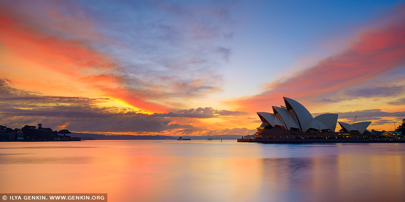 australia stock photography | Vivid Sunrise Over Sydney Opera House, Sydney, NSW, Australia