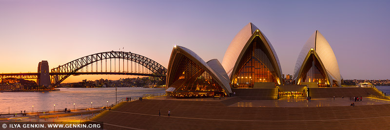 australia stock photography | Sydney Opera House and Harbour Bridge after Sunset, Sydney, NSW, Australia