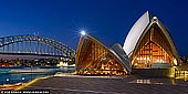 australia stock photography | Sydney Opera House at Night, Sydney, New South Wales (NSW), Australia, Image ID AU-SYDNEY-OPERA-HOUSE-0039. Panoramic image of the two of Sydney's famous icons, the Sydney Opera House and Sydney Harbour Bridge at night.