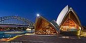 australia stock photography | Sydney Opera House at Night, Sydney, New South Wales (NSW), Australia, Image ID AU-SYDNEY-OPERA-HOUSE-0039. Panoramic image of the two of Sydney's famous icons, the Sydney Opera House and Sydney Harbour Bridge at night.