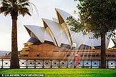 australia stock photography | Sydney Opera House on a Beautiful Bright Morning, Sydney, New South Wales (NSW), Australia, Image ID AU-SYDNEY-OPERA-HOUSE-0041. Beautiful photo of the Sydney Opera House on a bright summer morning when everything is glowing and sun rays striking through the leaves.
