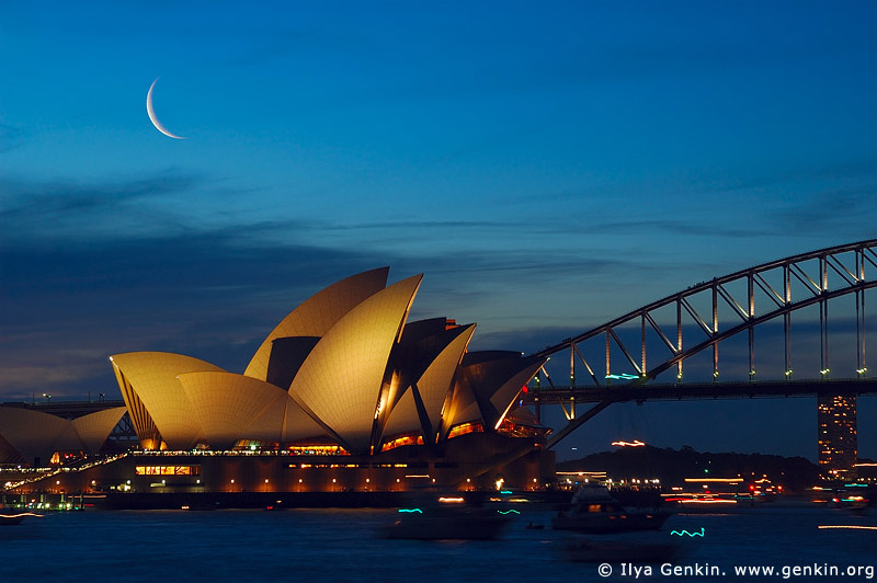 australia stock photography | Sydney Opera House and Harbour Bridge with Crescent Moon At Dusk, Sydney, NSW, Australia, Image ID AUOH0002