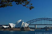 australia stock photography | The Sydney Opera House and The Harbour Bridge, View from Mrs. Macquaries Chair, Sydney, New South Wales, Australia, Image ID AUOH0005.