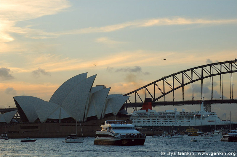australia stock photography | The Sydney Opera House and Ocean Cruise Liner Queen Elizabeth 2 at Dusk, Sydney, New South Wales, Australia, Image ID AUOH0010