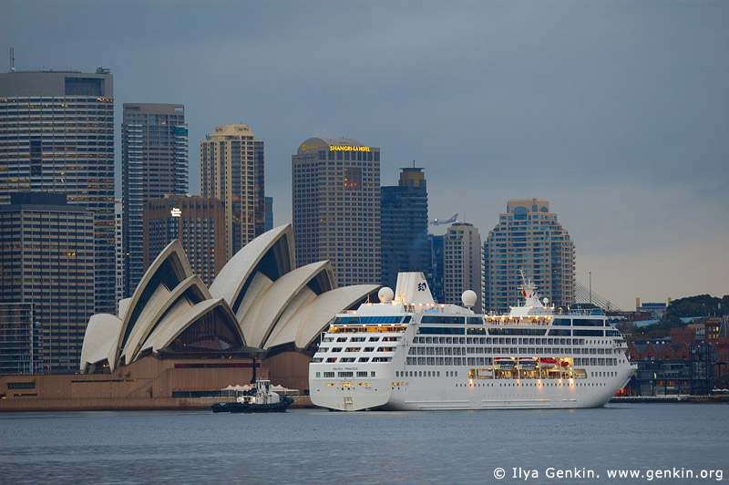 australia stock photography | The Sydney Opera House and Ocean Cruise Liner at Dawn, View from Cremorne Point, Sydney, NSW, Australia, Image ID AUOH0012