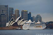 australia stock photography | The Sydney Opera House and Ocean Cruise Liner at Dawn, View from Cremorne Point, Sydney, NSW, Australia, Image ID AUOH0012.