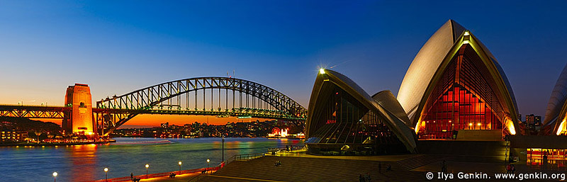 australia stock photography | The Sydney Opera House and the Harbour Bridge at Sunset, Sydney, NSW, Australia, Image ID AUOH0016