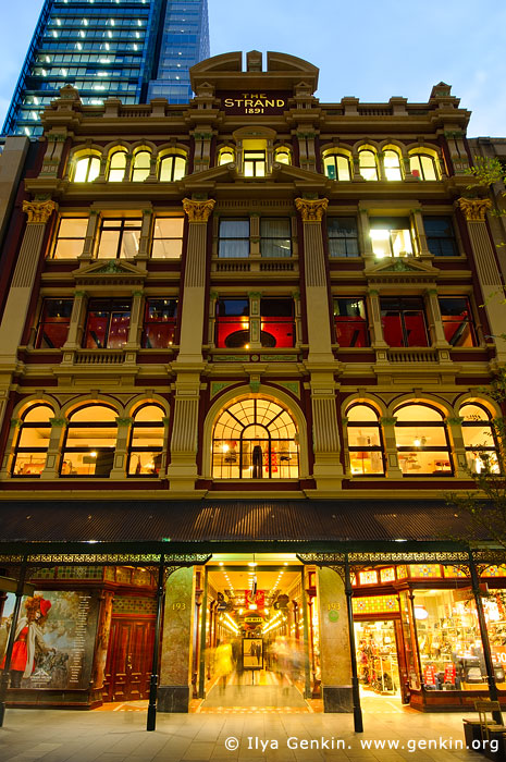 australia stock photography | The Strand Arcade after Sunset, Sydney, New South Wales (NSW), Australia, Image ID STRAND-ARCADE-0001