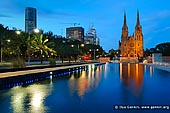 australia stock photography | St. Mary's Cathedral at Dusk, Sydney, NSW, Australia, Image ID AU-SYDNEY-ST-MARYS-CATHEDRAL-0005. Looking towards St. Mary's Cathedral and Cook & Phillip Park Aquatic and Fitness Centre in Sydney, NSW, Australia at night.