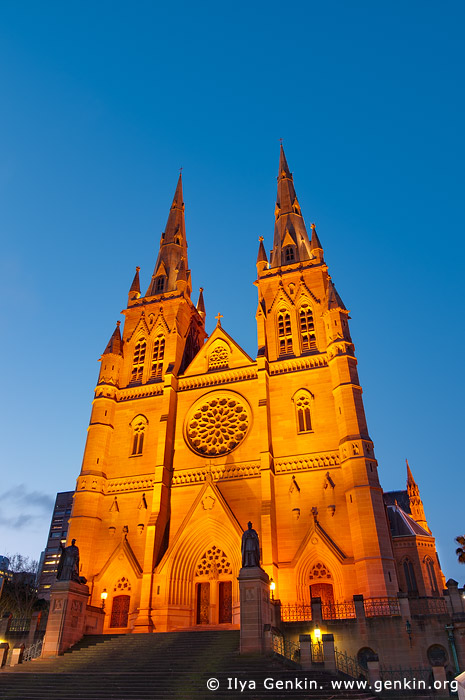 australia stock photography | St. Mary's Cathedral at Night, Sydney, NSW, Australia, Image ID AU-SYDNEY-ST-MARYS-CATHEDRAL-0003