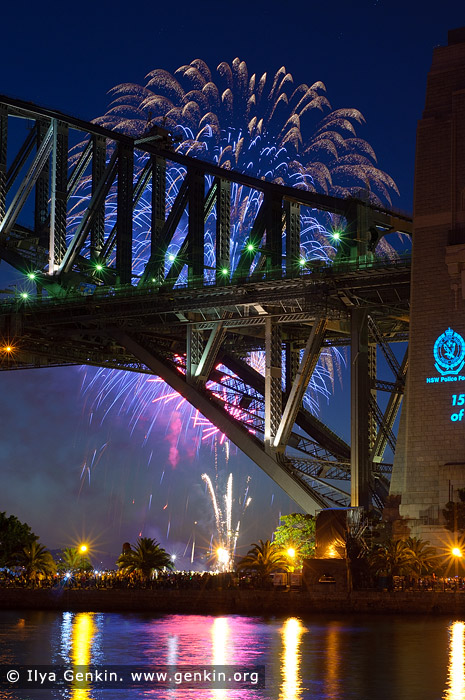 australia stock photography | Midnight Fireworks over Sydney Harbour Bridge, Sydney, New South Wales (NSW), Australia, Image ID SYDNEY-NYE-FIREWORKS-0015