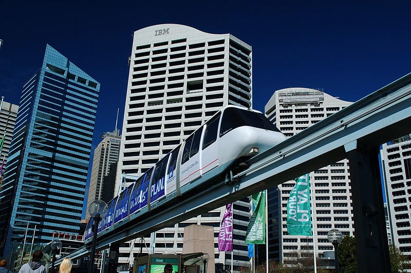 australia stock photography | Sydney City and Monorail, Darling Harbour, Sydney, New South Wales (NSW), Australia, Image ID AU-SYDNEY-MONORAIL-0004