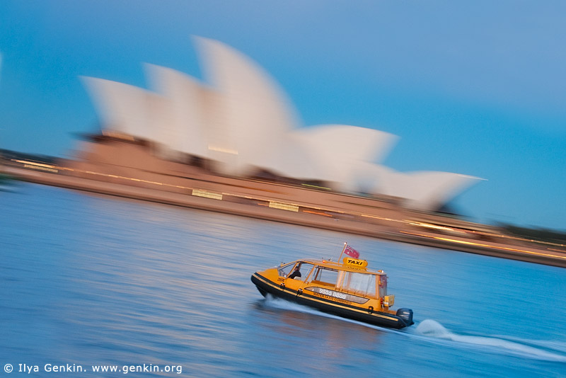 Water Taxi is Passing by Sydney Opera House, Sydney, New South Wales (NSW), Australia