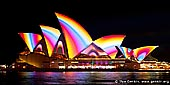 australia stock photography | Lighting the Sails - Vivid Sydney 2011, Sydney, NSW, Australia, Image ID VIVID-SYDNEY-LIGHTING-THE-SAILS-0001. Amazing vivid colourful rainbow on the 'shells' of The Sydney Opera House created by the French based digital projection artists Superbien.