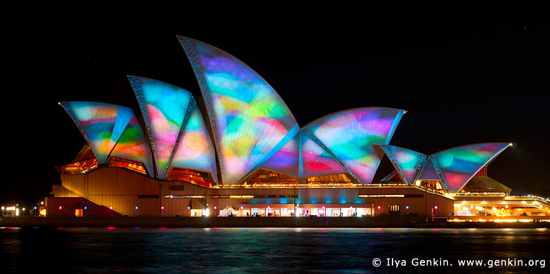 australia stock photography | Lighting the Sails - Vivid Sydney 2011, Sydney, NSW, Australia