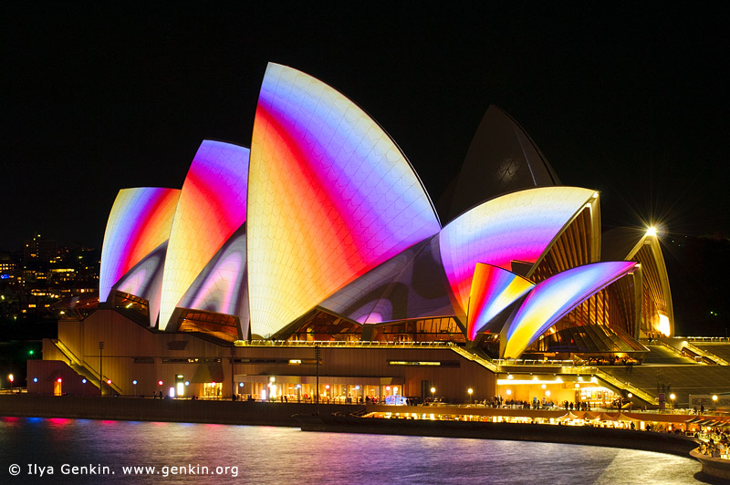 australia stock photography | Lighting the Sails - Vivid Sydney 2011, Sydney, NSW, Australia, Image ID VIVID-SYDNEY-LIGHTING-THE-SAILS-0018