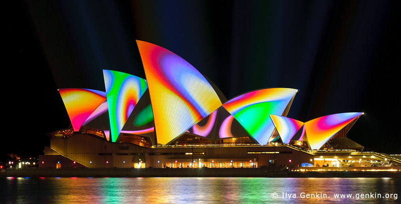 australia stock photography | Lighting the Sails - Vivid Sydney 2011, Sydney, NSW, Australia, Image ID VIVID-SYDNEY-LIGHTING-THE-SAILS-0020