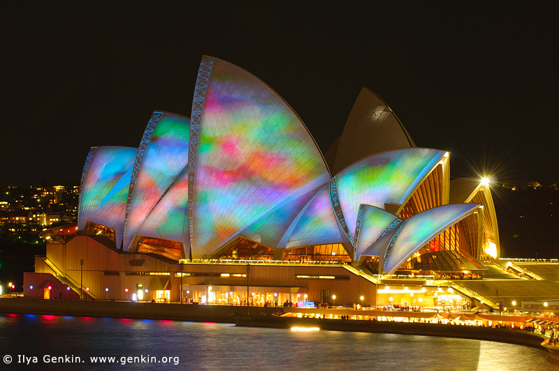australia stock photography | Lighting the Sails - Vivid Sydney 2011, Sydney, NSW, Australia, Image ID VIVID-SYDNEY-LIGHTING-THE-SAILS-0022