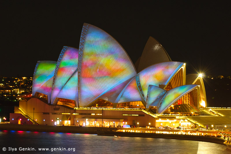 australia stock photography | Lighting the Sails - Vivid Sydney 2011, Sydney, NSW, Australia, Image ID VIVID-SYDNEY-LIGHTING-THE-SAILS-0046