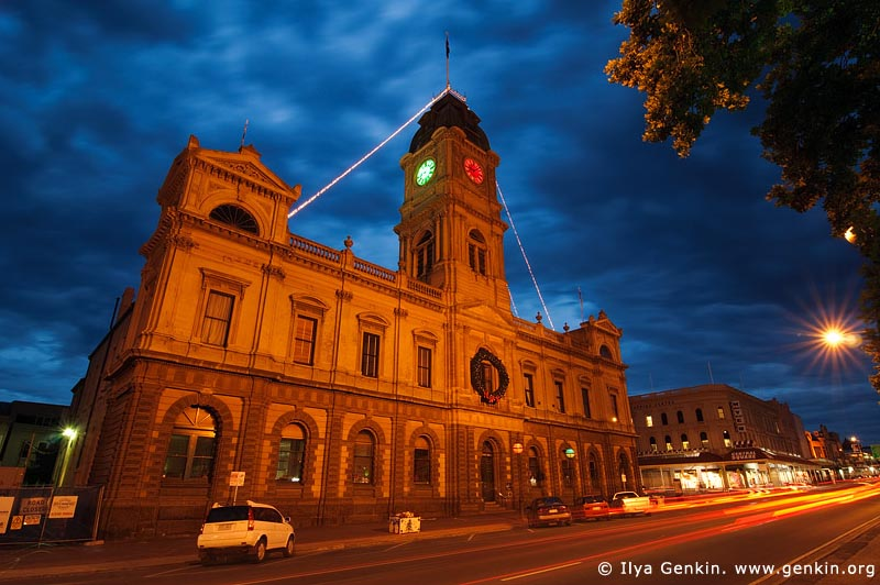 australia stock photography | Ballarat Town Hall at Night, Ballarat, VIC, Australia, Image ID AU-BALLARAT-0006