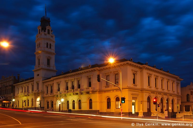australia stock photography | University of Ballarat at Night, Former Post Office, Ballarat, VIC, Australia, Image ID AU-BALLARAT-0007