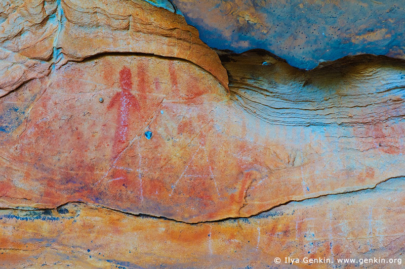 australia stock photography | Aboriginal Rock Art Paintings at Ngamadjidj Shelter, Grampians National Park, Victoria (VIC), Australia, Image ID NGAMADJIDI-SHELTER-0007