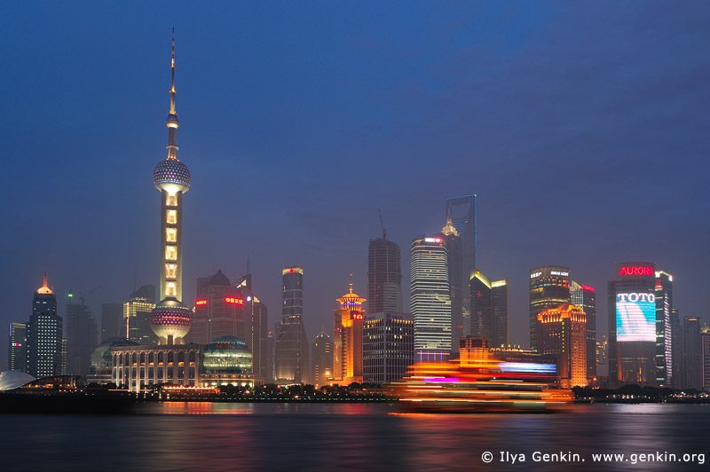 china stock photography | Shanghai's Pudong Skyline over the Huangpu River at Night, View from The Bund, Shanghai, China, Image ID CHINA-SHANGHAI-0001