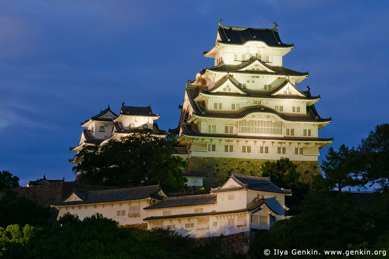 japan stock photography | Himeji Castle at Night, Hyogo Prefecture, Kansai region, Honshu Island, Japan, Image ID JPHJ0033