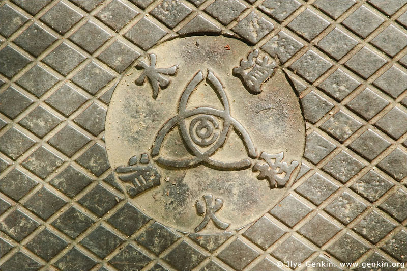japan stock photography | Manhole Cover in Himeji Castle, Hyogo Prefecture, Kansai region, Honshu Island, Japan, Image ID JPHJ0034