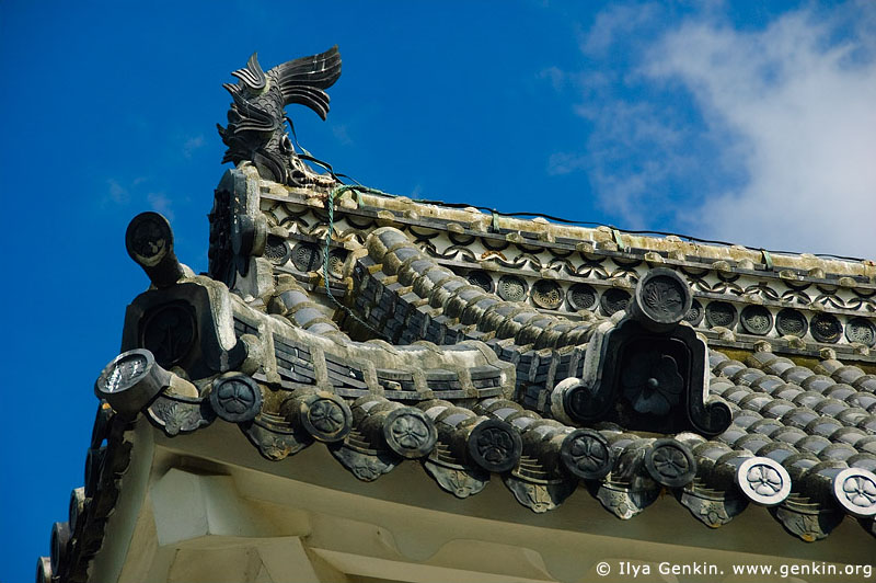 japan stock photography | Roof Details of Himeji Castle, Hyogo Prefecture, Kansai region, Honshu Island, Japan, Image ID JPHJ0037