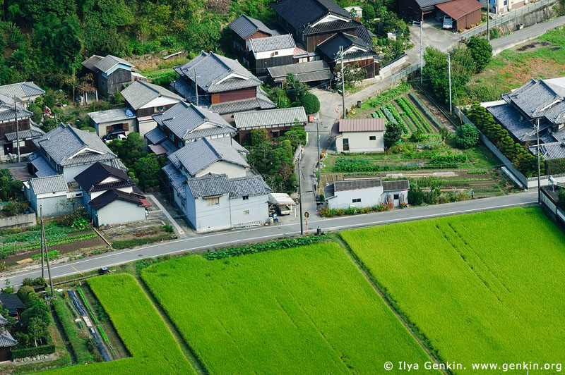 japan stock photography | Houses and Rice Field. View from Mount Shosha., Hyogo Prefecture, Kansai region, Honshu Island, Japan, Image ID JPHJ0060