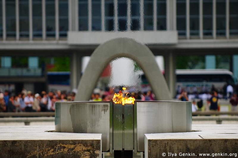 japan stock photography | Peace Flame with the Peace Memorial Museum in the background, Hiroshima, Honshu, Japan, Image ID JPHI0002