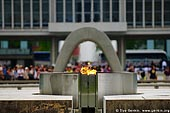 japan stock photography | Peace Flame with the Peace Memorial Museum in the background, Hiroshima, Honshu, Japan, Image ID JPHI0002.