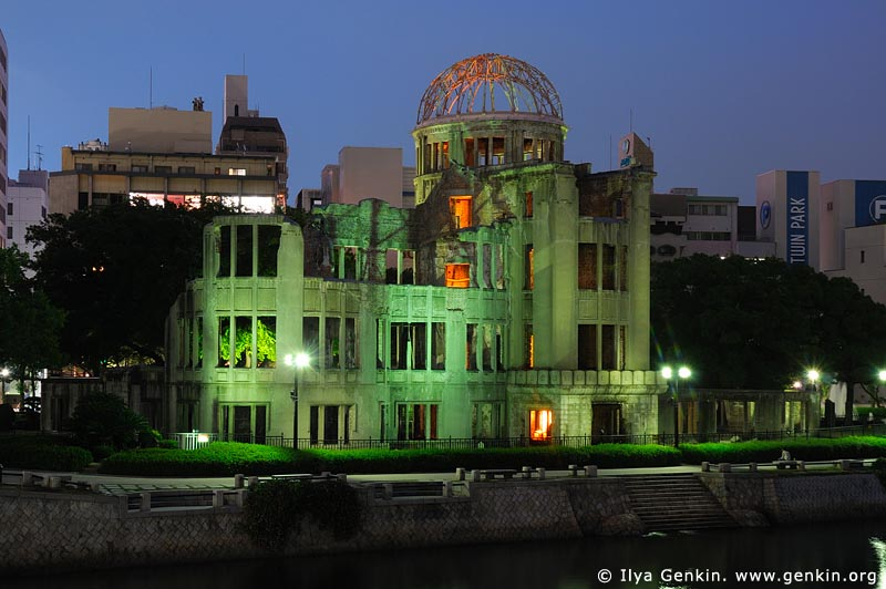 japan stock photography | Atomic Bomb Dome at Dusk, Hiroshima, Honshu, Japan, Image ID JPHI0008