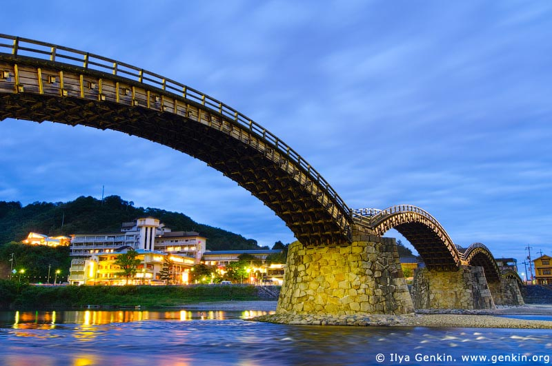 japan stock photography | Kintai-kyo (Kintai Bridge) at Night, Iwakuni, Honshu, Japan, Image ID JPIW0001
