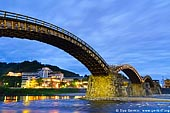 japan stock photography | Kintai-kyo (Kintai Bridge) at Night, Iwakuni, Honshu, Japan, Image ID JPIW0001.