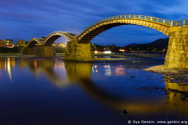 japan stock photography | Kintai-kyo (Kintai Bridge) at Night, Iwakuni, Honshu, Japan, Image ID JPIW0002