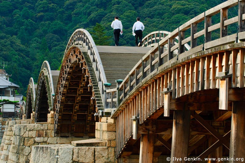 japan stock photography | Two Businessmen Crossing Kintai-kyo (Kintai Bridge), Iwakuni, Honshu, Japan, Image ID JPIW0004