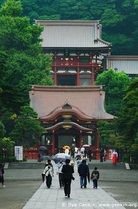 japan stock photography | The Mai-den Stage in Front of the Main Shrine at Hachiman-gu Shrine, Tsurugaoka Hachiman-gu Shrine, Kamakura, Honshu, Japan, Image ID JP-KAMAKURA-0068