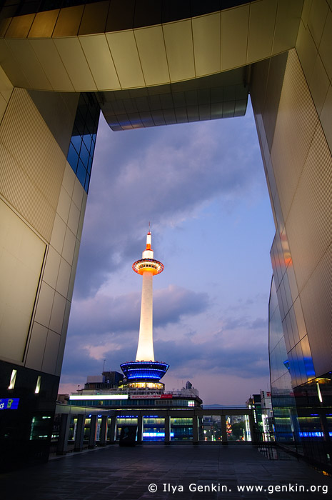 japan stock photography | Kyoto Tower at Night Viewed from Kyoto Railway Station, Kyoto, Kansai, Honshu, Japan, Image ID JP-KYOTO-0007