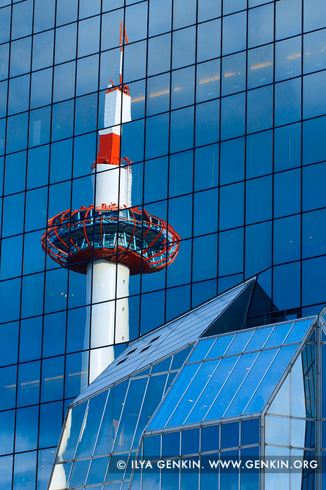 japan stock photography | Kyoto Tower Reflected in the North Facade of Kyoto Station, Kyoto, Kansai, Honshu, Japan, Image ID JP-KYOTO-0012