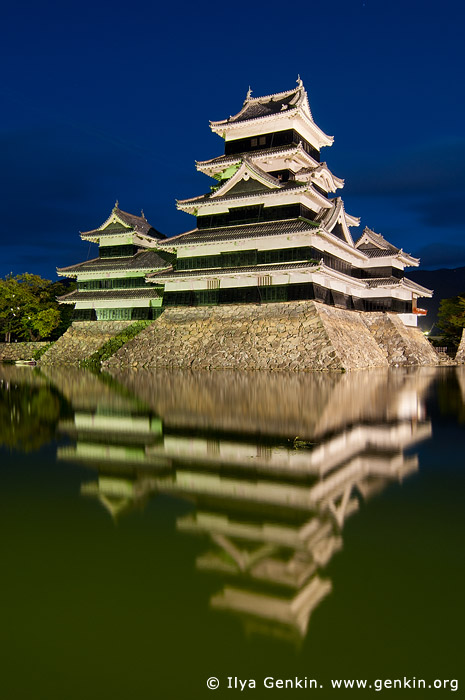 japan stock photography | Matsumoto Castle at Night Reflected in Moat, Matsumoto, Nagano Prefecture, Chubu region, Honshu Island, Japan, Image ID JP-MATSUMOTO-0005