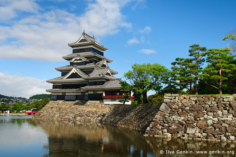 japan stock photography | Matsumoto 'Crow' Castle, Matsumoto, Nagano Prefecture, Chubu region, Honshu Island, Japan, Image ID JP-MATSUMOTO-0006
