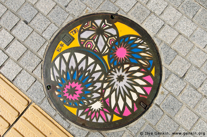 japan stock photography | Painted Manhole Cover in Matsumoto, Matsumoto, Nagano Prefecture, Chubu region, Honshu Island, Japan, Image ID JP-MATSUMOTO-0010