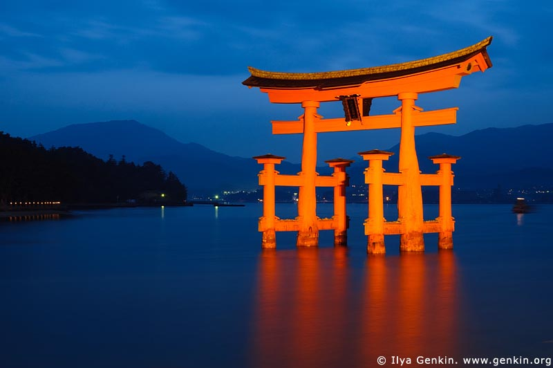 japan stock photography | O-Torii (Grand Gate) at Dusk, Itsukushima Shrine, Miyajima, Honshu, Japan, Image ID JPMI0001